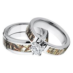 His and Her's Matching Mossy Oak Duck Blind Camo Wedding Ring Set…