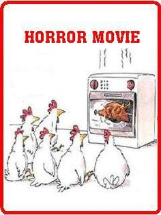 When Chickens Watch Horror Movie - - The Fun Strarts Here - Extremely funny posts, funny pics, funny animals, funny videos, pranks and much more. Really Funny Memes, Funny Puns, Haha Funny, Hilarious, Cartoon Jokes, Funny Cartoons, Funny Comics, Funny Images, Funny Photos