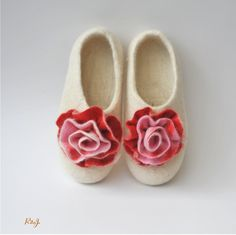 Natural white wool felted slippers  with roses.. $65.00, via Etsy.