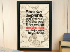 Books are the destination - framed vintage map print, wall decor, book lover gift, book art, framed quote, travel gift, map decor, map art