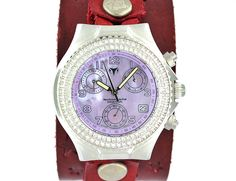 TECHNO MARINE STAINLESS STEEL WITH RED LEATHER STRAP AND PINK DIAL  Offered at $500 http://www.ebay.com/itm/TECHNO-MARINE-STAINLESS-STEEL-WITH-RED-LEATHER-STRAP-/261773748815?pt=LH_DefaultDomain_0&hash=item3cf2ee6a4f #techno #marine #stainless #steel #watch