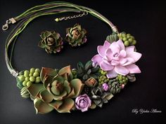 Green Succulent jewelry. Polymer clay necklace. by Amfetrita