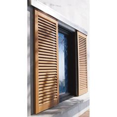 This green shutters is genuinely an impressive style philosophy. Diy Shutters, Wooden Shutters, Window Shutters, Bedroom Shutters, Green Shutters, Facade Design, Door Design, House Design, Bahama Shutters