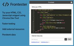 Frontest Chrome Extension to test CSS, HTML, and Javascript within Chrome browser dev tool