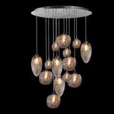 "Oggetti Luce Cosmo 14 Surface-Mounted Chandelier 23.5"" wide x up to 72"" overall height Stainless Steel Spun Clear Glass Fourteen 60wt 120V G9 Halogen Bulbs OGG-50-COSMO/14A"