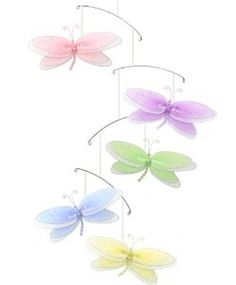 Pink Purple Yellow Blue Green Multi Layered Dragonfly Mobile Decorations -