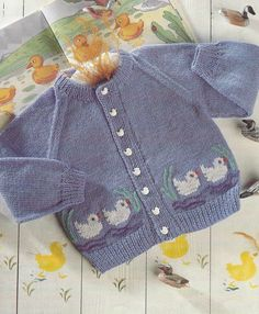 Child Knitting Patterns child geese cardigan classic knitting sample 20 - 26 inch chest sizes double knitting wool PDF Immediate obtain Baby Knitting PatternsBaby Knitting Patterns Cardigan Picture ducks cardigan baby vintage knitting by EllisadinePD Cardigan Bebe, Baby Cardigan Knitting Pattern, Knitting Wool, Vintage Knitting, Knitting Needles, Sweater Patterns, Kids Knitting Patterns, Knitting For Kids, Baby Patterns