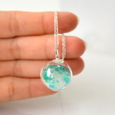 Icy teal heart glitter in blown glass ball silver by thestudio8