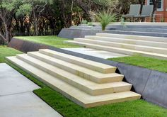 Corten and Stone Steps, D Crain, Austin Patio Steps, Outdoor Steps, Garden Steps, Garden Fencing, Corner Landscaping, Modern Landscaping, Backyard Landscaping, Landscape Stairs, Landscape Architecture