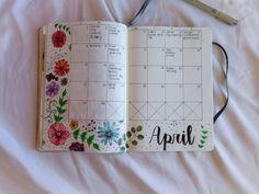 Bullet Journal, BuJo, Bullet Journaling, April, Monthly Spread, Flowers