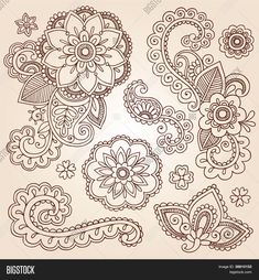 Illustration of Hand-Drawn Intricate Abstract Flowers and Mandala Mehndi Henna Tattoo Paisley Doodle - Illustration vector art, clipart and stock vectors. Henna Mehndi, Tattoo Henna, Henna Art, Mehendi, Hand Tattoo, Maori Tattoos, Snake Tattoo, Tatoos, Paisley Doodle