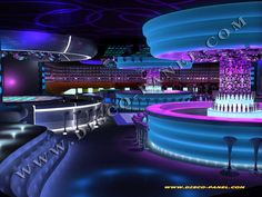 The Reverie night club would be a mix of this and the previous pin. Highlights of neon on every curve and corner and a loft for the up and ups to view those on the main floor below and at the bar Sport Bar Design, Lounge Design, Bar Lounge, Küchen Design, Design Ideas, Nightclub Bar, Nightclub Design, Lounge Lighting, Club Lighting