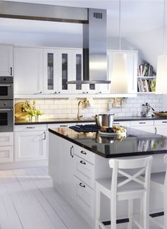 dream kitchen, cuisine de rêve, all white, tout blanc