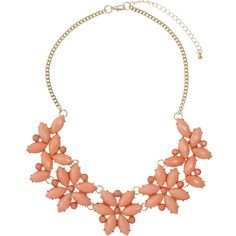 Dorothy Perkins Coral Flower Necklace ($18) ❤ liked on Polyvore featuring jewelry, necklaces, coral, flower necklace, coral jewellery, flower jewelry, coral jewelry and blossom jewelry