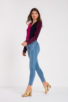 This fuchsia, navy and plum colour blockedtriacetate cropped double-breasted blazer is perfect for a fun... Plum Colour, Color, Cropped Blazer, Double Breasted Blazer, Bell Bottom Jeans, Milan, Night Out, Navy, Model