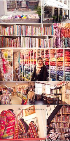 Mi cesta de mimbre: Amsterdam. Mercadillos y Tiendas. Yarn Display, Fabric Display, Wool Shop, Quilt Material, Yarn Store, Knitting Supplies, Primitive Crafts, Craft Shop, Fabric Shop