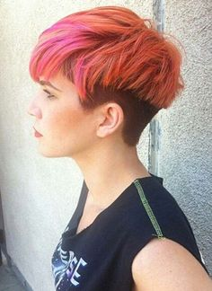 Short Hairstyles for Women: Undercut Bowl-Cut Hair    Pinky orange sunset coloured hair with dark undercut