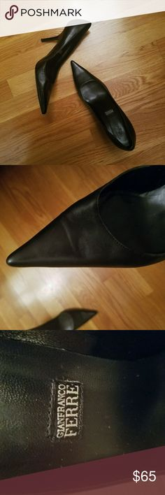"""SALE! Gianfranco Ferre WORN ONCE Pumps Beautiful classic black pumps by Gianfranco Ferre!!! The leather is smooth and buttery and the shoes go with everything in your closet. The heels are about 3-3.5"""", not too short and not too tall- comfortable enough for every day!  Other than a bit of leather creasing at the toe and some wear on the soles (again, they've only been worn once so it's minimal), these heels are in great and ready to be loved!!!  OPEN TO OFFERS! Gianfranco Ferre Shoes Heels"""
