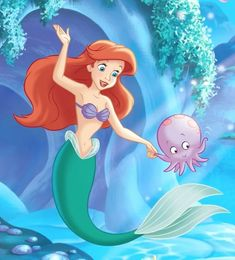 Ariel and her little octopus friend Old Disney, Disney Xd, Disney Junior, Disney Stuff, Disney Movies, Disney Pixar, Cartoons Love, Disney Cartoons, Disney Princess Ariel