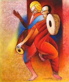 Sudhir Bangar Indian Artwork, Indian Paintings, Indian Contemporary Art, Modern Art, Painting For Kids, Painting & Drawing, Indian Arts And Crafts, Dance Paintings, Outdoor Wall Art
