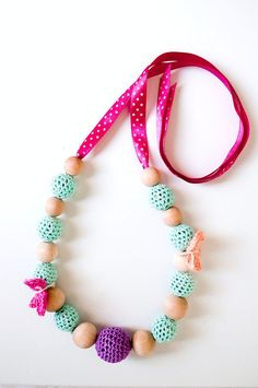 Wooden and crochet necklace