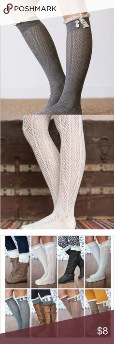Super cute lacy boot socks. Choice of color. Super cute lacy boot socks. Gray and white available. White has a different print or style than gray.  One pair at this price. Bundle for discount. Accessories Hosiery & Socks