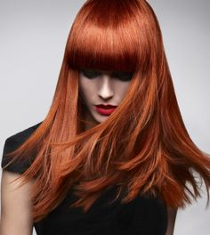 A long red straight coloured hairstyle by Room: 97