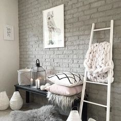 Find and enjoy ideas about White brick walls on termin(ART)ors.com. | See more ideas about White bricks, Brick painted white and White wallpaper.  The picture we use for the PIN here is from: https://websta.me/p/1439068776262963204_1313634486