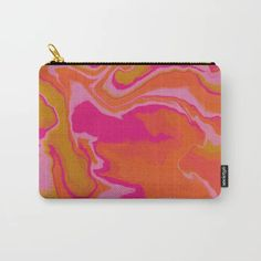 Black and neon retro eyes and abstract print zippered pouch with flat bottom