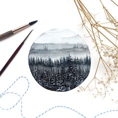 (@rosies.sketchbook) An experiment with pine trees and misty mountains, decided to go for a monochromatic look.#watercolor #watercolour #painting #sketch #art #artist #artwork #draw #drawing #doodle #watercolorist #illustration #illustrate