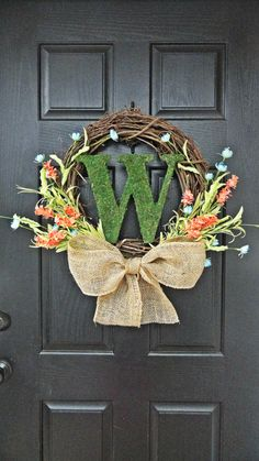 Colorful Wildflower and Moss Monogram Spring and Summer Wreath on Etsy, $49.00