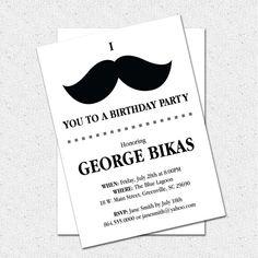 Printable Mustache Birthday Party Bash Invitation, Manly Man DIY Digital File
