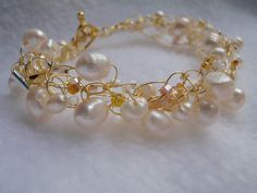 Aurora Bracelet Gold Crochet Natural Pearl Bridal by Spasojevich, $19.99 Can be made with different color wire.