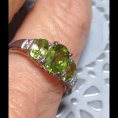 Peridot 3 Stone 2.15 CT New Hebei Peridot 3 oval stone ring. TGW 2.15 CT. Set in .925 Sterling. Size 7. Can be sized up or down two sizes. These Chinese Peridot stones are crystal clear and gorgeous. In 2005 the Range Rover on Mars discovered Peridot in soil samples,. Gallery setting is very high end. ⭐️ Open to offers Jewelry