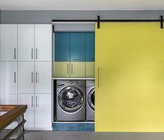 laundry room with barn door   Nesting Home Design