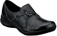 58704c1b6bbd New Clarks Womens Wave Run Slip On Loafer Black Leather Casual Shoes 86505