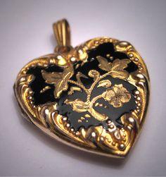 Antique Victorian Locket Enamel Gold Art Nouveau Ornate via Etsy