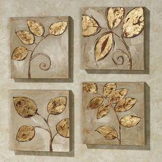 Golden Leaves Canvas Art Set Golden Leaves Canvas Set Gold Set of Four Small Canvas, Diy Canvas, Canvas Art, Canvas Paintings, Diy Wall Art, Diy Art, Wall Decor, Glue Art, Gold Leaf Art