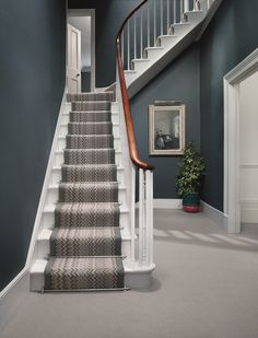 Example hallway in Stiffkey Blue House Styles, Victorian Hallway, House Inspiration, Blue Hallway, Hallway Colours, House Stairs, House, Staircase Design, Hallway Inspiration
