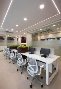 Making good looking structures and spaces. Door Design Interior, Office Furniture Design, Workspace Design, Office Workspace, Office Counter Design, Open Office Design, Corporate Office Design, Commercial Office Design, House Ceiling Design