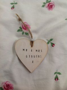 Personalised Mr and Mrs heart. Perfect for your wedding day!!