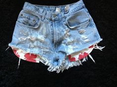 Bleached Denim grunge  shorts distressed high waisted Lucky brand. $19.00, via Etsy.