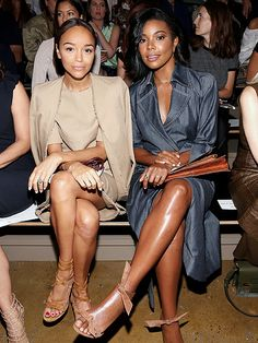 Fashion Week 2015: From the Biggest Stars at the Yeezy Show to the Beautiful Ladies in the Front Row | ASHLEY MADEKWE & GABRIELLE UNION | Is this a PeopleStyle Best Dressed issue powow? Our awesome PeoplexGilt model and half of our best-dressed couple put their heads together in Wes Gordon (while wearing Wes Gordon, of course).