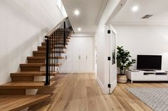 Stunning Sunday: Brand new weatherboard for sale in Essendon, Melbourne, VIC Melbourne House, Interior Stairs, New Builds, Building A House, Sweet Home, Lounge, Real Estate, House Design, Flooring