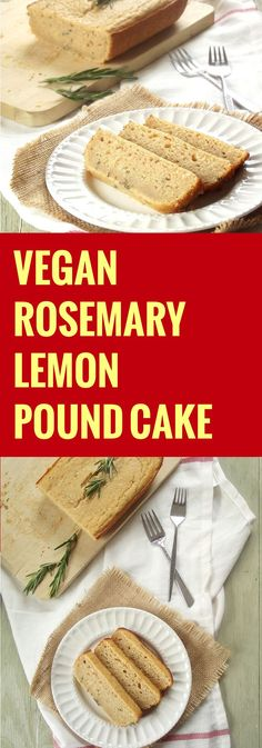 Moist, tender and bursting with the flavors of rosemary and lemon! This vegan pound cake is a crowd pleaser that's made with a surprising ingredient. Brownie Desserts, Oreo Dessert, Mini Desserts, Vegan Dessert Recipes, Vegetarian Recipes, Healthy Recipes, Vegan Treats, Vegan Foods, Vegan Cake