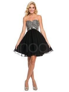 Gorgeous Black A-line Sweetheart Neckline Mini Rhinestones Homecoming Dress with Lace-up