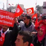 Demonstrators at an anti-terror march in Tunis in 2015