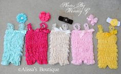 Baby Girl Lace Romper Turquoise Bright Pink by AlissasBoutique, $18.00