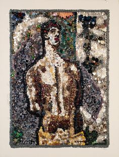 Anton Veenstra - Homage To El Greco Sebastian, button mosaics.  I was going to post one of Anton's 'controversial' tapestries ... check out his blog ;)
