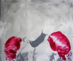 Buy G loves, a Oil on Canvas by János Huszti from Hungary. It portrays: Men, relevant to: pink, portrait, grey, men, oil Ali's boxing gloves painted in pink. Oil on canvas Ships in a crate